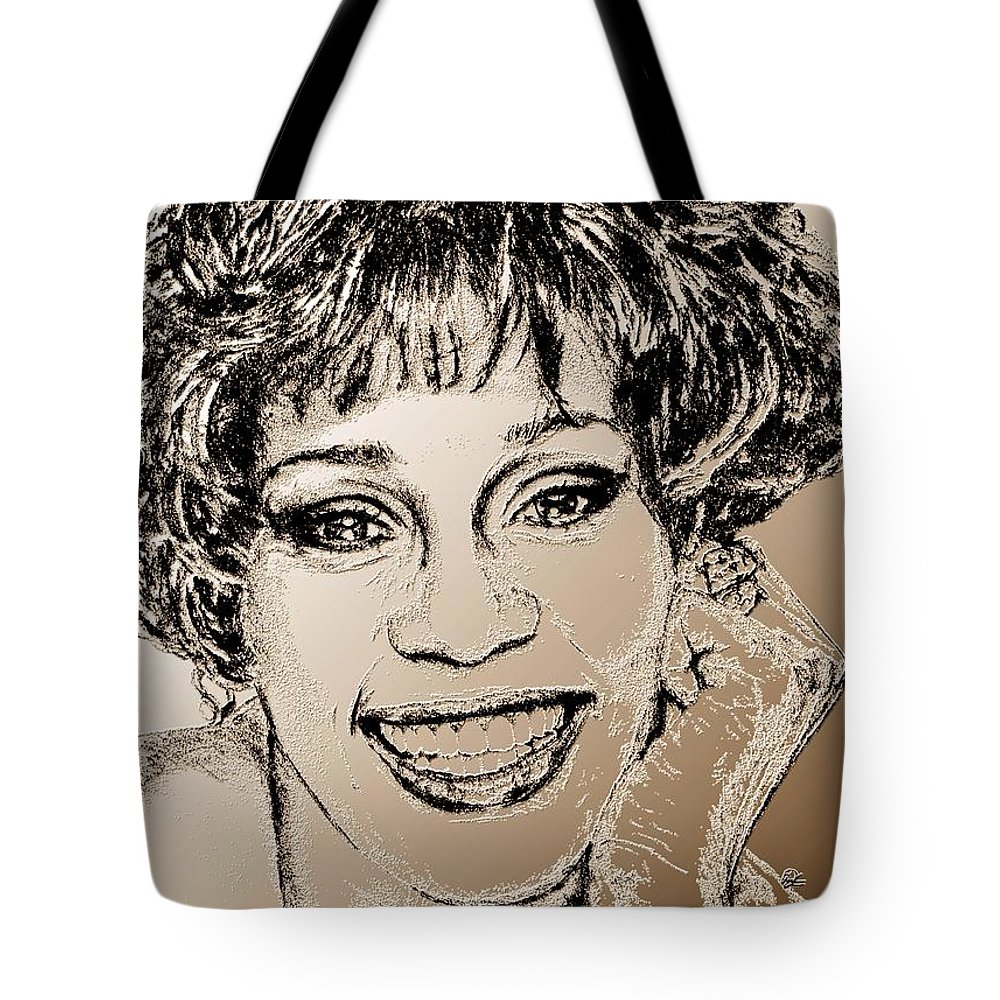 Whitney Tote Bag featuring the digital art Whitney Houston In 1992 by J McCombie