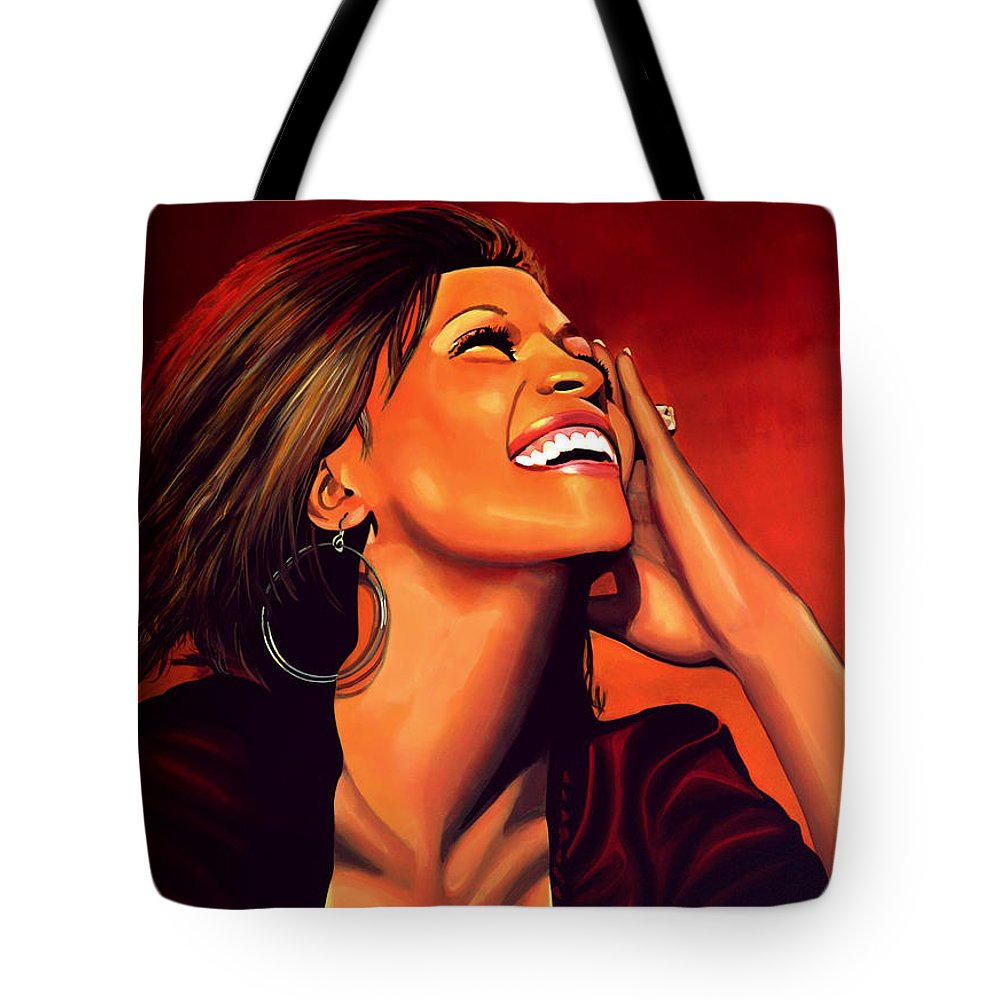 Whitney Houston Tote Bag featuring the painting Whitney Houston by Paul Meijering