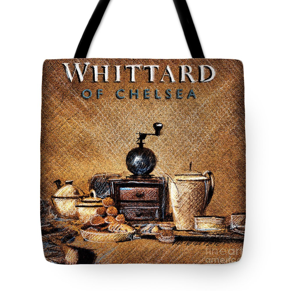 Whittard Of Chelsea Tote Bag featuring the drawing Whittard Of Chelsea Tea Coffee And Drawings by Daliana Pacuraru