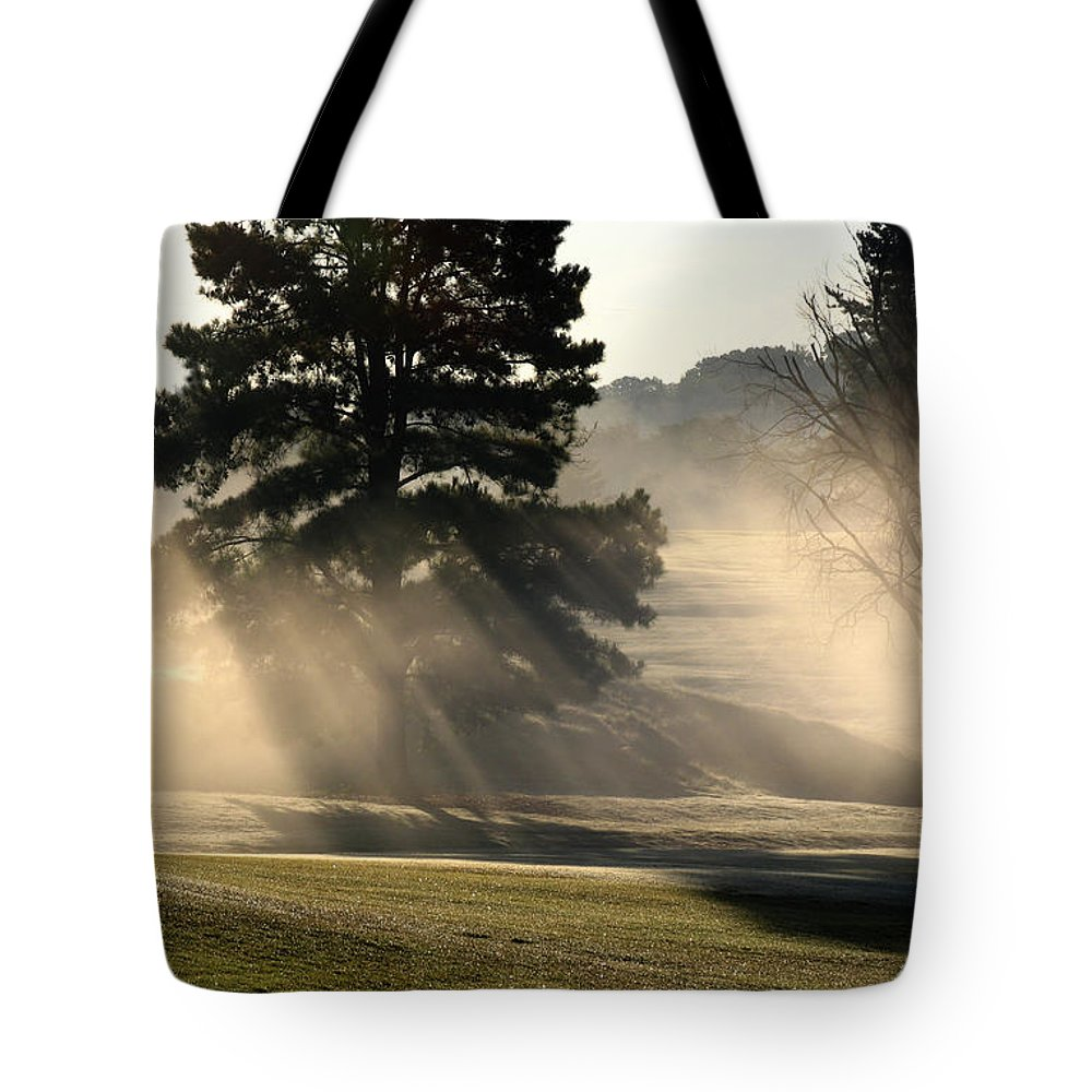 Fog Tote Bag featuring the photograph Whittle Springs Golf Course by Douglas Stucky