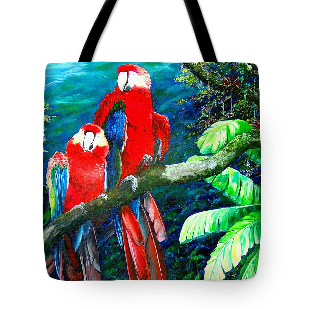 Caribbean Painting Green Wing Macaws Red Mountains Birds Trinidad And Tobago Birds Parrots Macaw Paintings Greeting Card  Tote Bag featuring the painting Who Me  by Karin Dawn Kelshall- Best