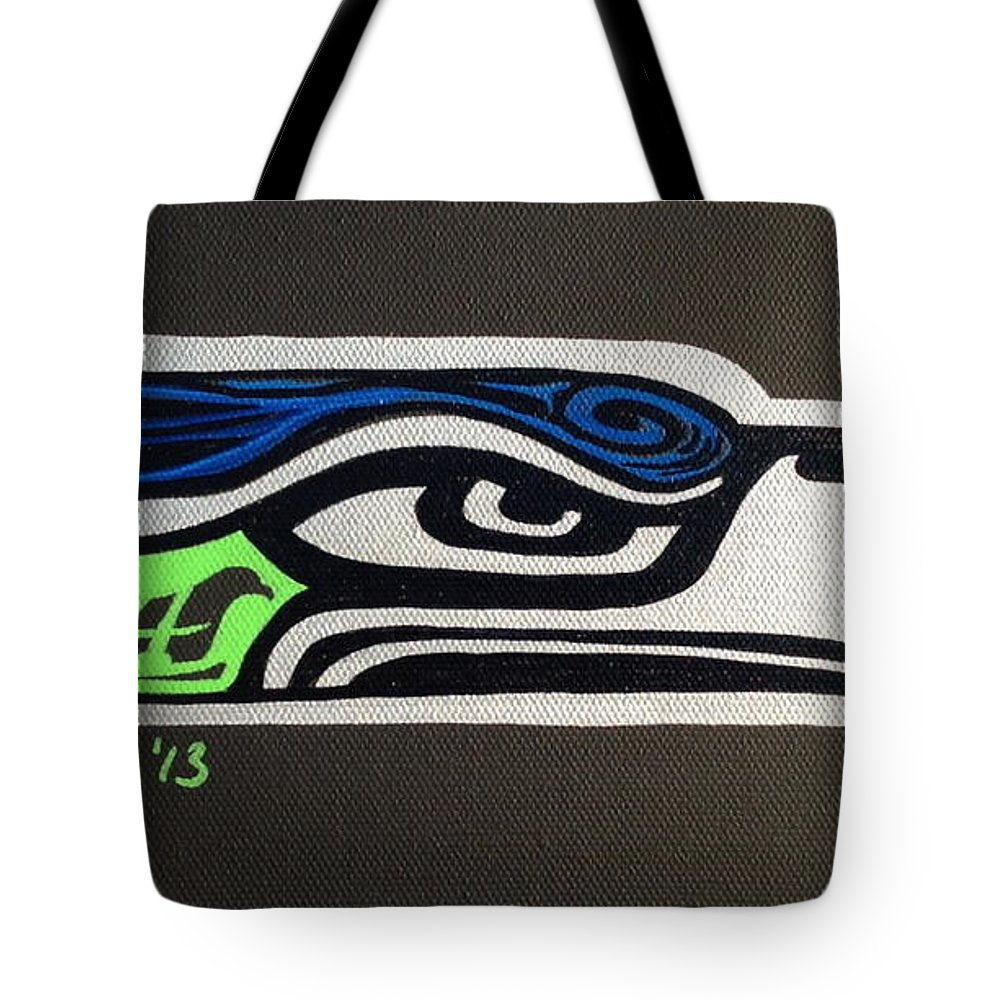 Seattle Seahawks Tote Bag featuring the painting Who Ready by A Cyaltsa Finkbonner