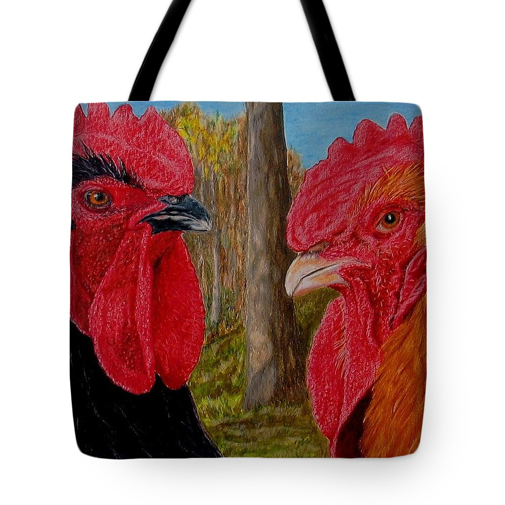 Roosters Tote Bag featuring the painting Who You Calling Chicken by Karen Ilari