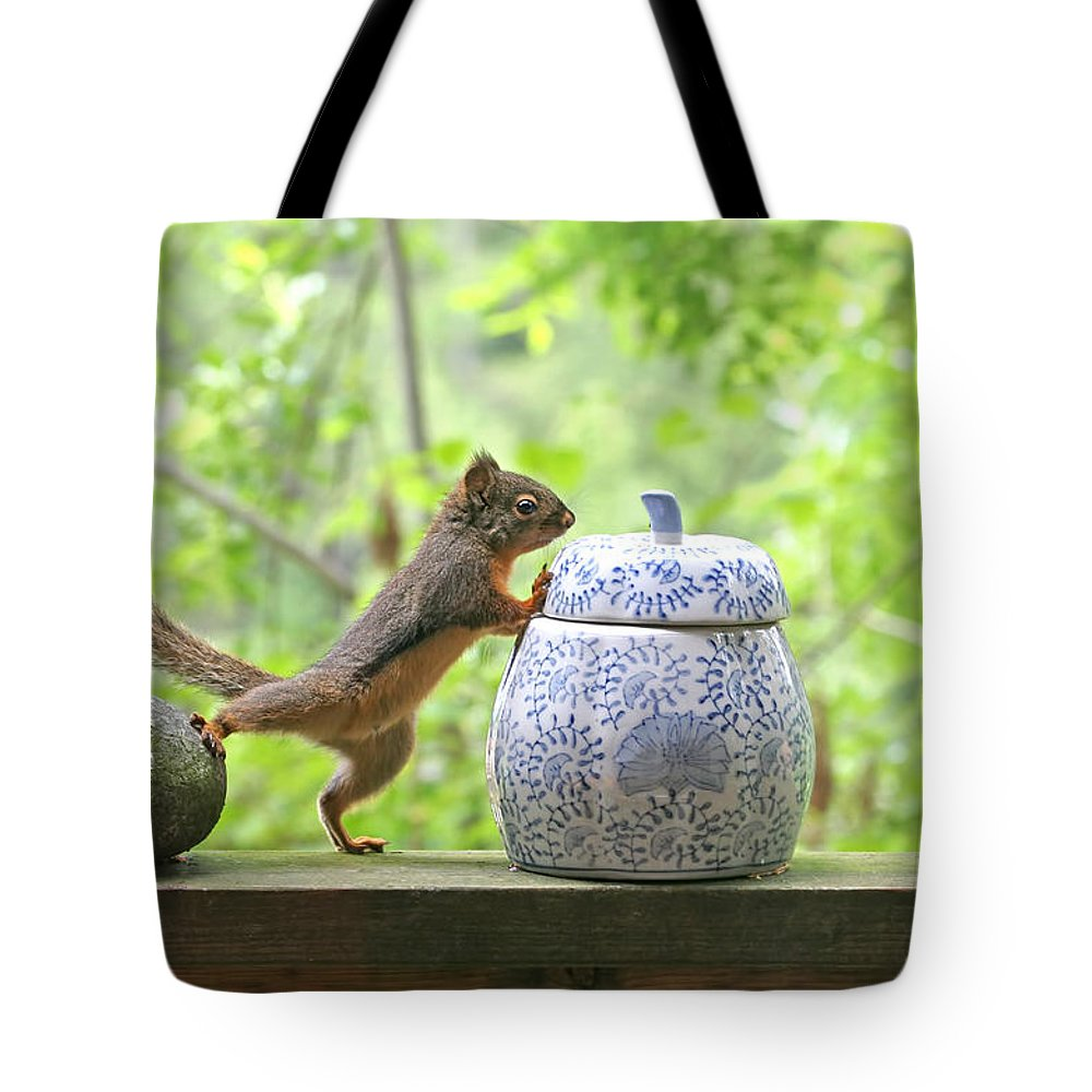 Squirrel Tote Bag featuring the photograph Who's Been In The Cookie Jar? by Peggy Collins