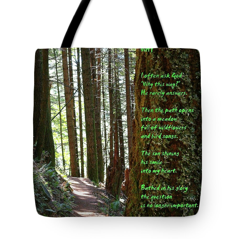 Trees Tote Bag featuring the photograph Why by Jeff Swan