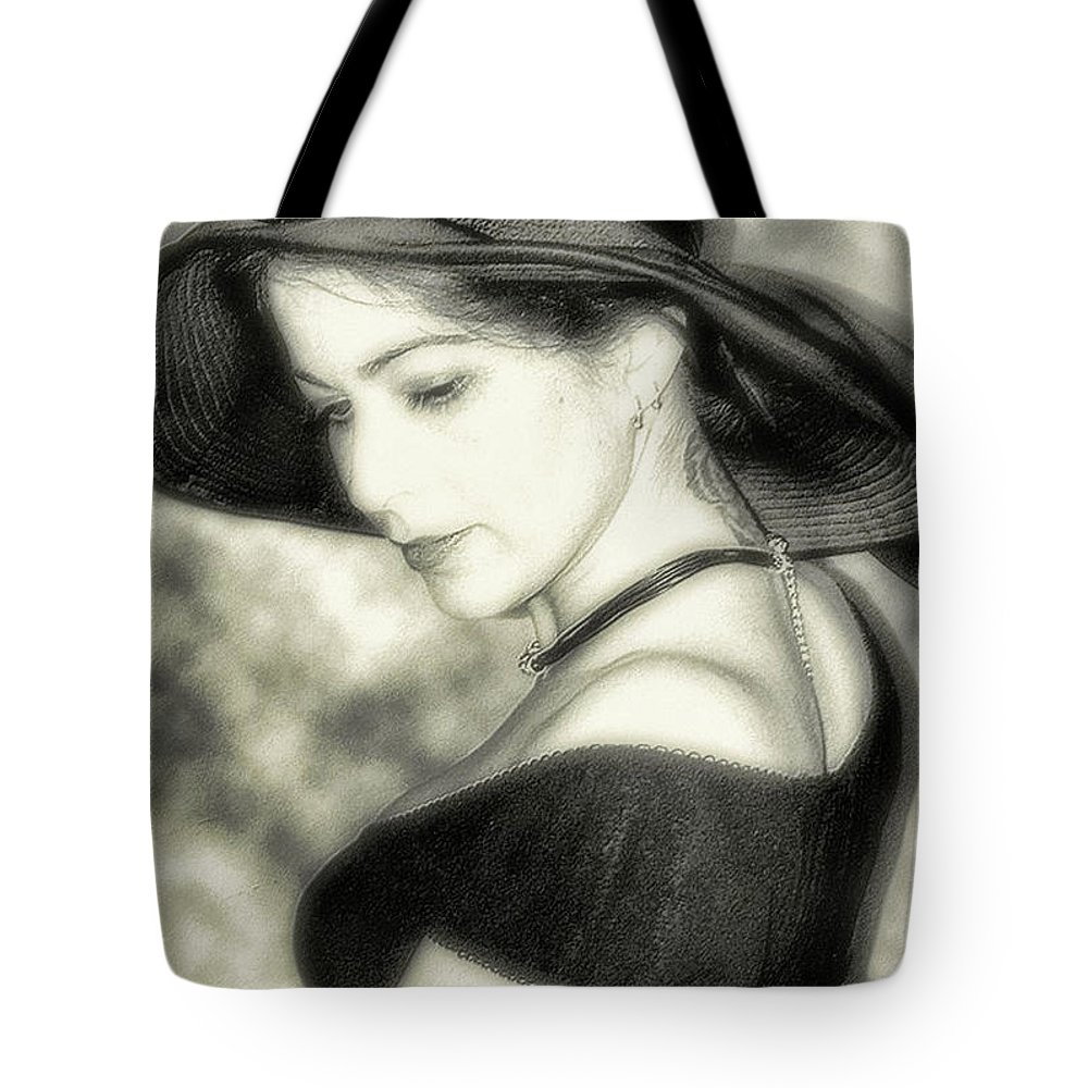 Black And White Tote Bag featuring the photograph Wiccan Lady by Kristie Bonnewell