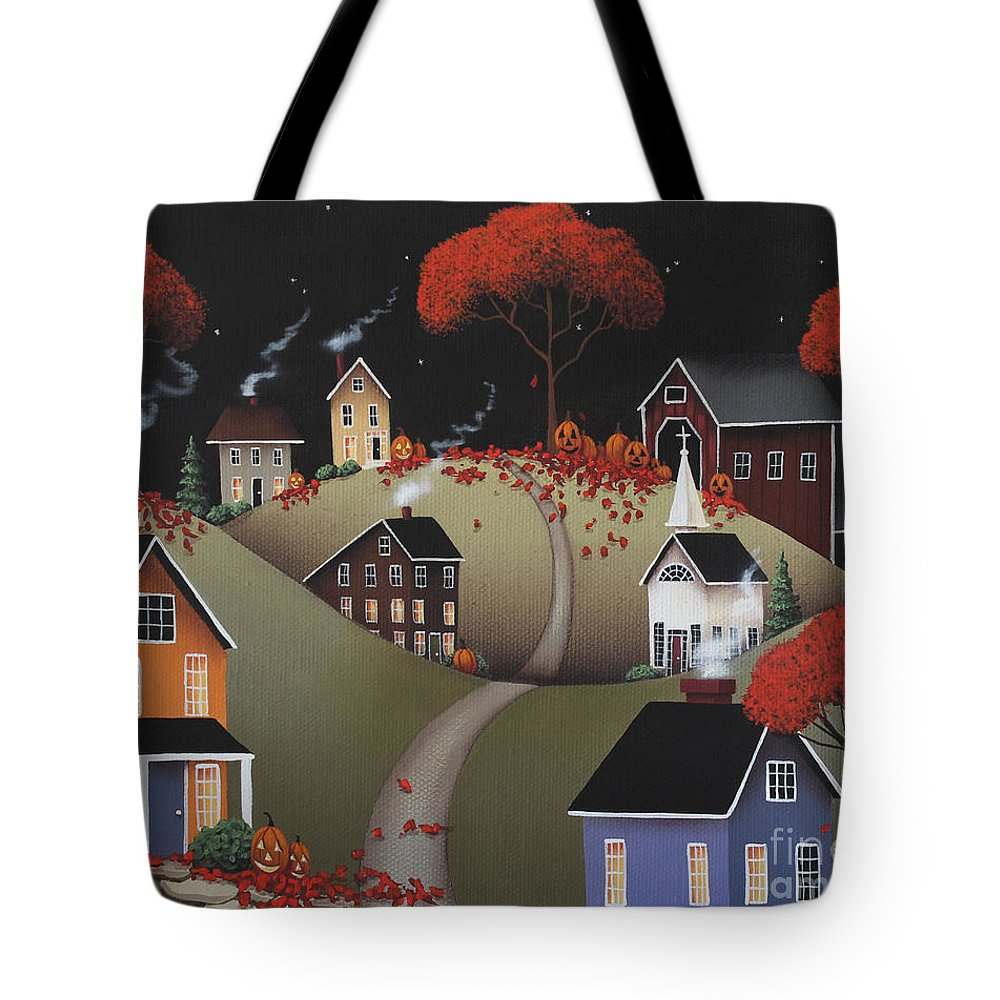 Art Tote Bag featuring the painting Wickford Village Halloween Ll by Catherine Holman