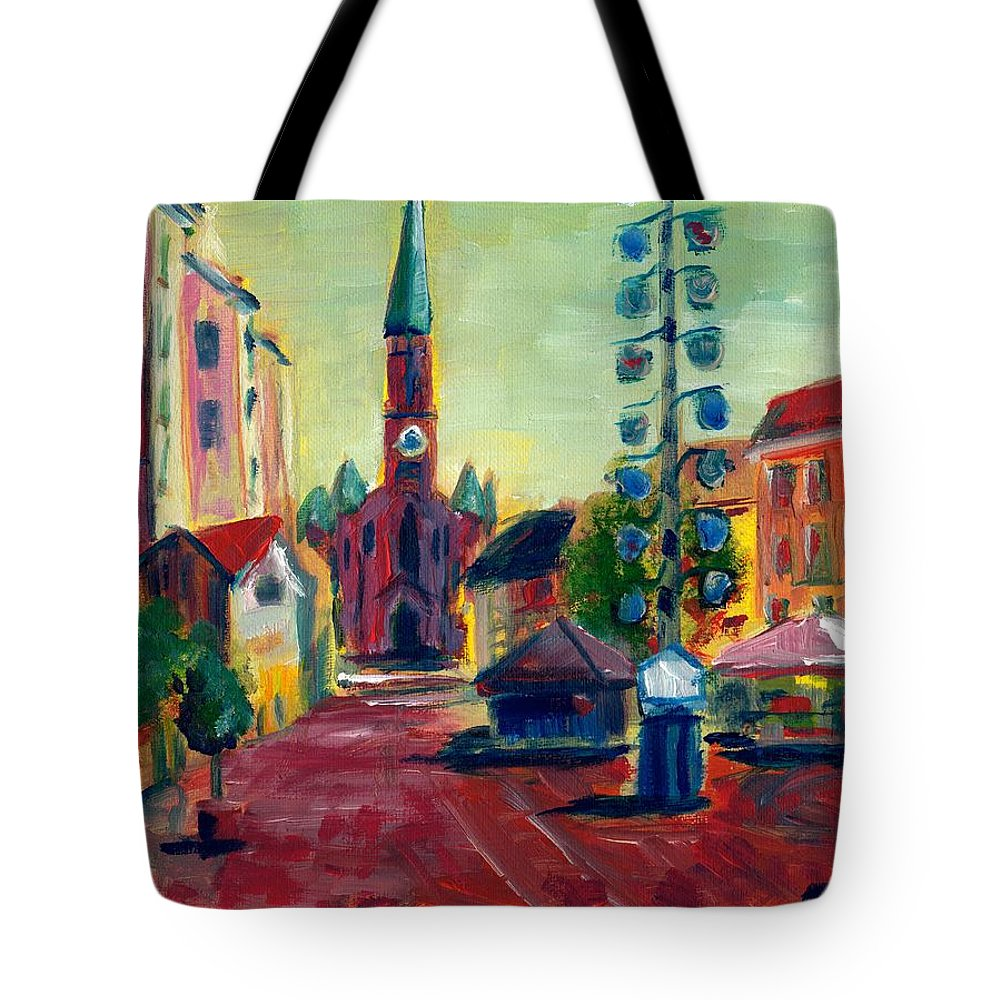 Bavaria Tote Bag featuring the painting Wienerplatz Study by Julie Galante