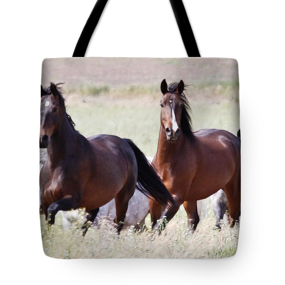 Horses Tote Bag featuring the photograph Wild And Free In The Field by Athena Mckinzie