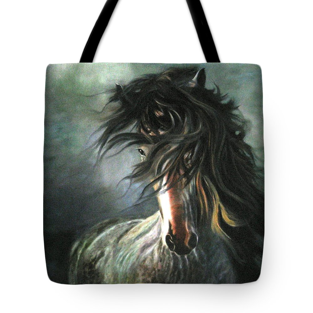 Horse Tote Bag featuring the painting Wild And Free by LaVonne Hand