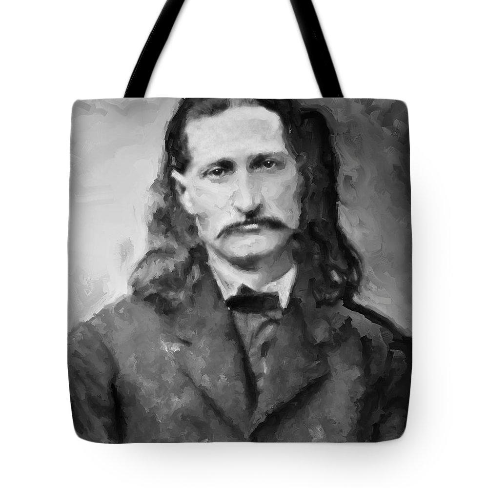 wild Bill Tote Bag featuring the digital art Wild Bill Hickok - American Gunfighter Legend by Daniel Hagerman