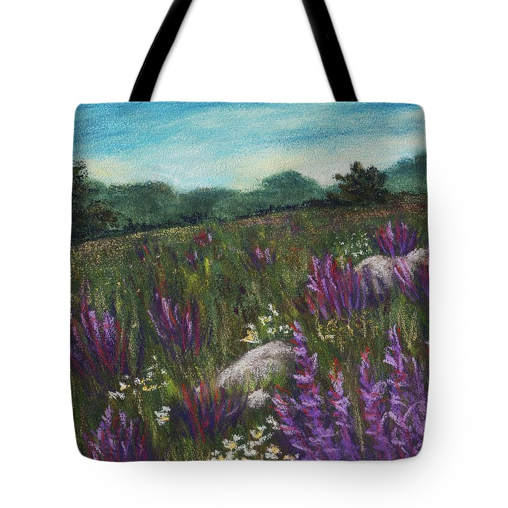 Calm Tote Bag featuring the painting Wild Flower Field by Anastasiya Malakhova