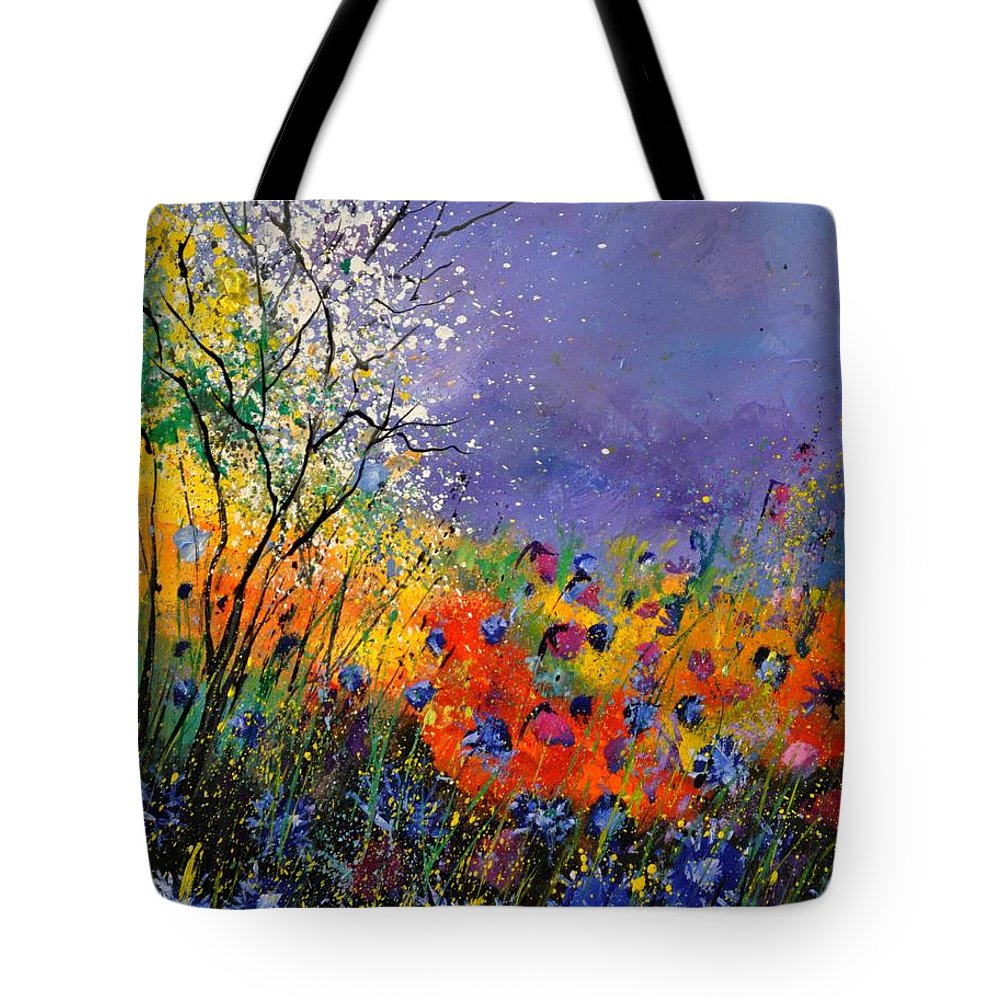 Landscape Tote Bag featuring the painting Wild Flowers 4110 by Pol Ledent