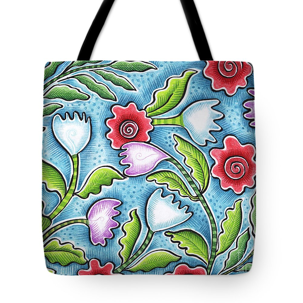 Leafy Tote Bag featuring the painting Wild Flowers by Elaine Jackson