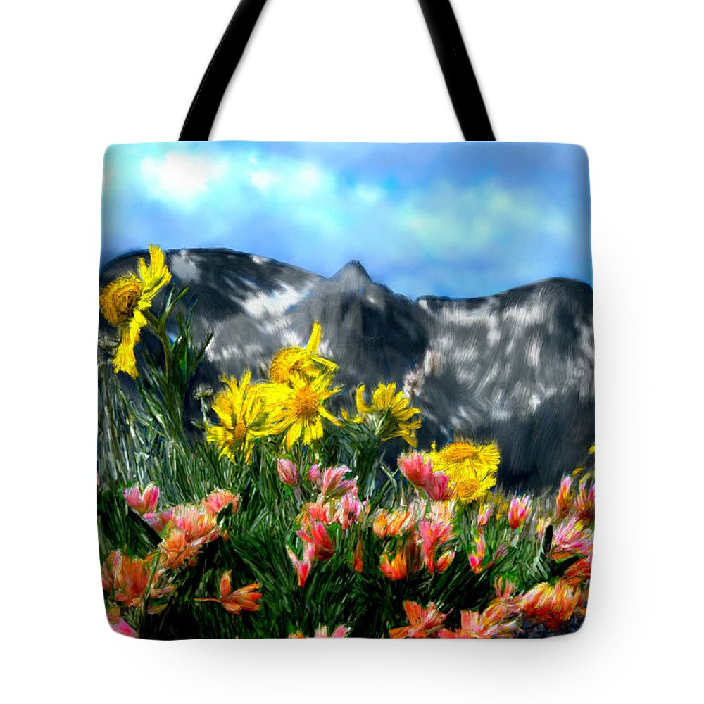 Mountains Tote Bag featuring the painting Wild Flowers In The Moutains by Bruce Nutting