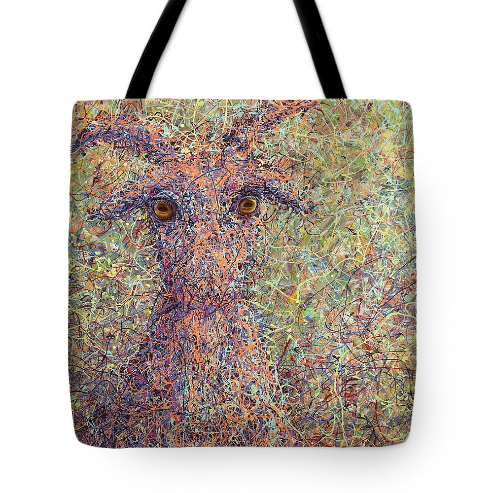 Goat Tote Bag featuring the painting Wild Goat by James W Johnson