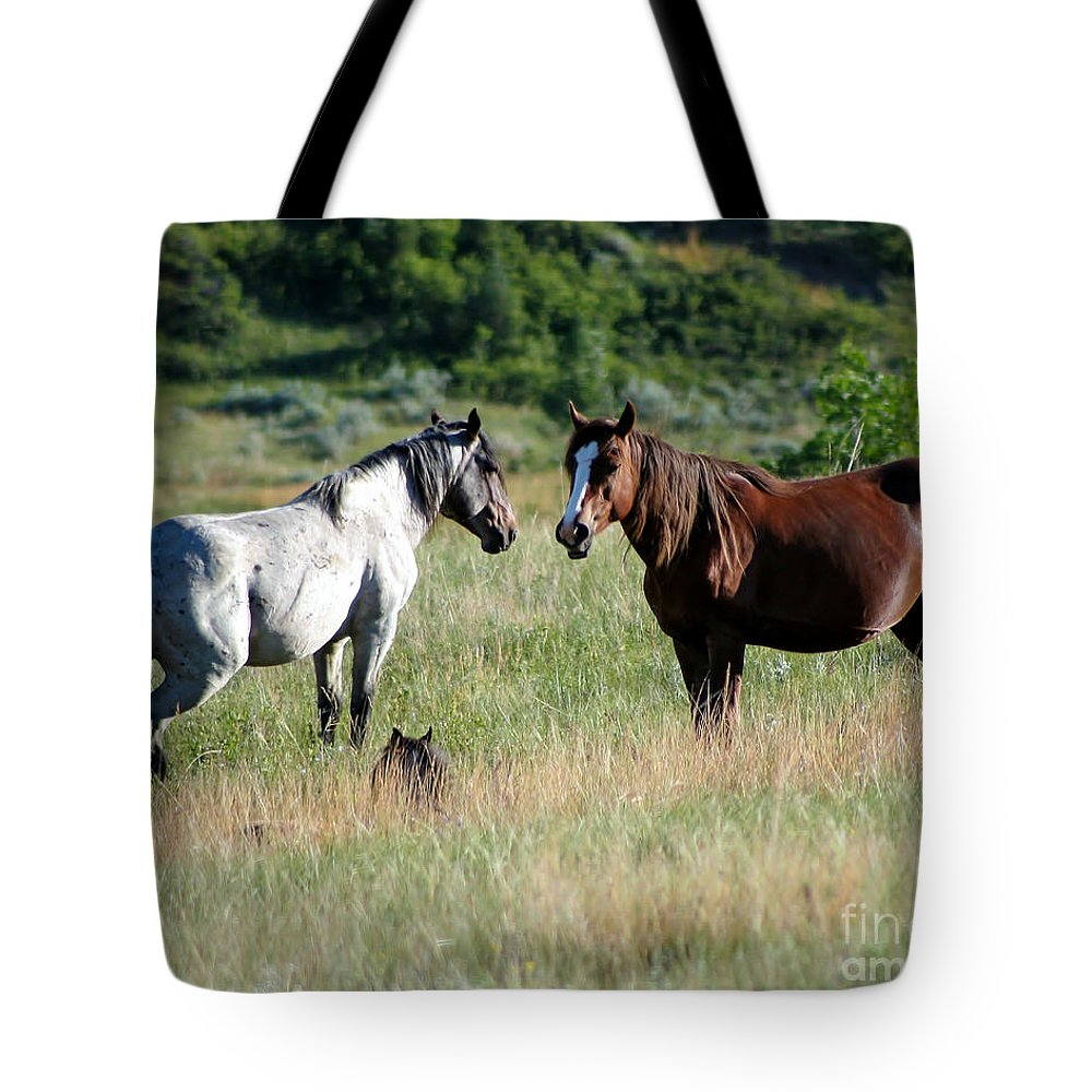 Animal Tote Bag featuring the photograph Wild Horses In Medora by Sabrina L Ryan