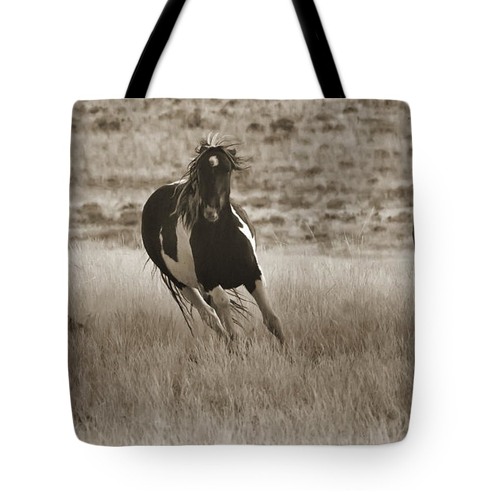 Horse Tote Bag featuring the photograph Wild Horses-sepia-signed-#7288 by J L Woody Wooden