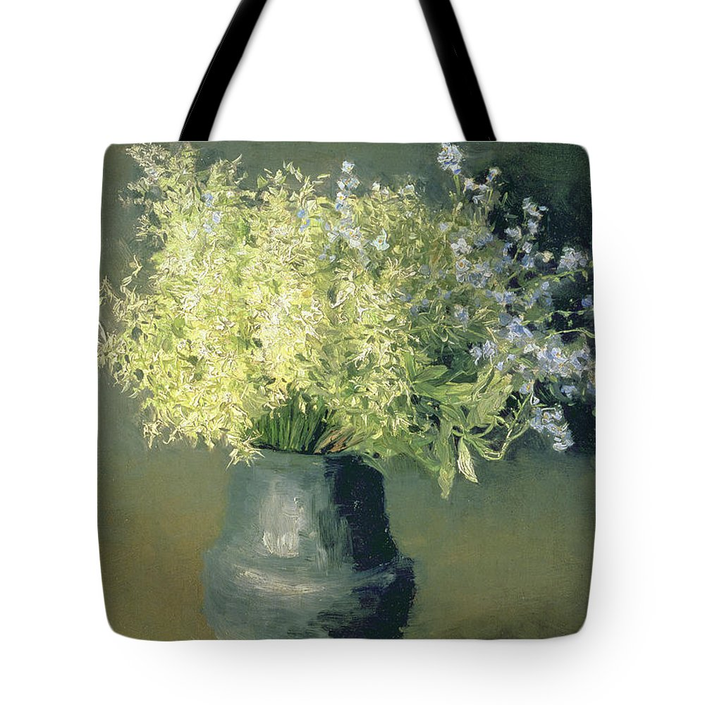 Still-life Tote Bag featuring the painting Wild Lilacs And Forget Me Nots by Isaak Ilyich Levitan
