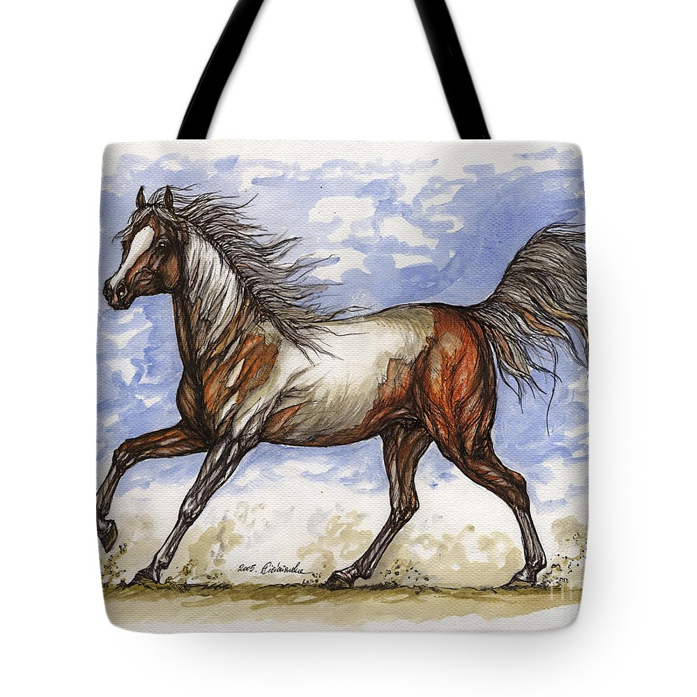 Wild Horse Tote Bag featuring the painting Wild Mustang by Angel Ciesniarska