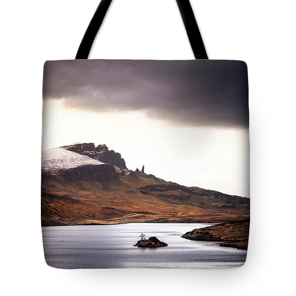 Water's Edge Tote Bag featuring the photograph Wild Nature Landscape In Scotland, Isle by Zodebala