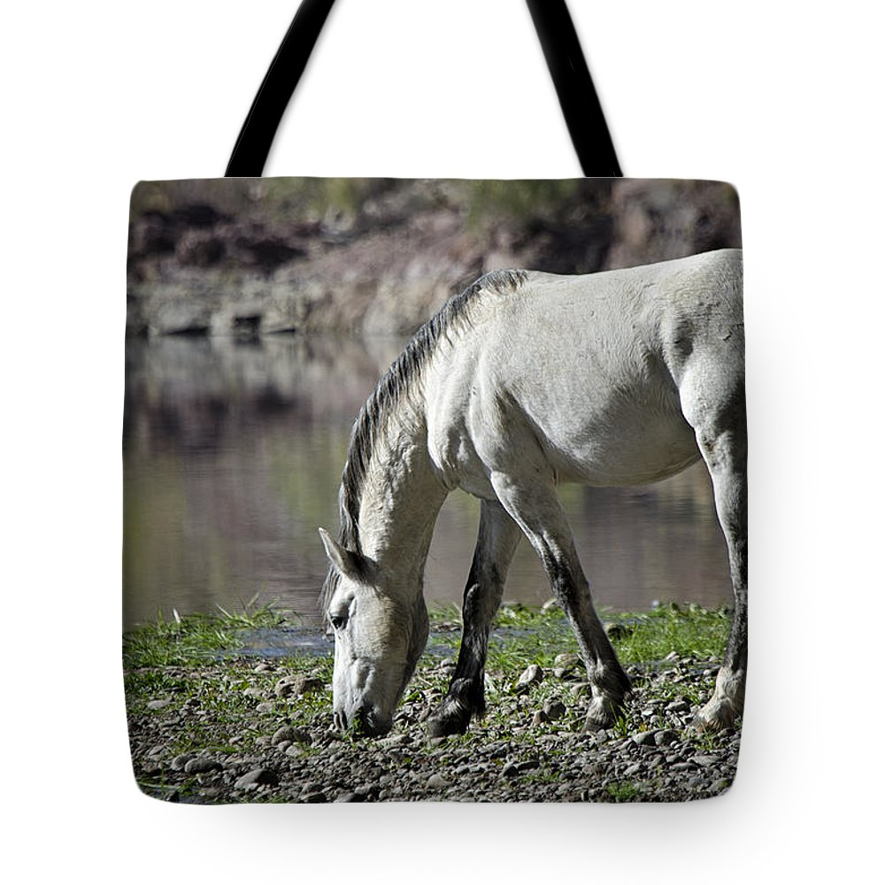 Wild Horse Tote Bag featuring the photograph Wild On The River by Saija Lehtonen