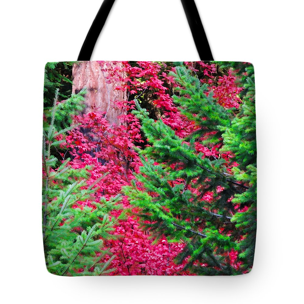 Red Maple Tote Bag featuring the digital art Wild Red Maple by L J Oakes