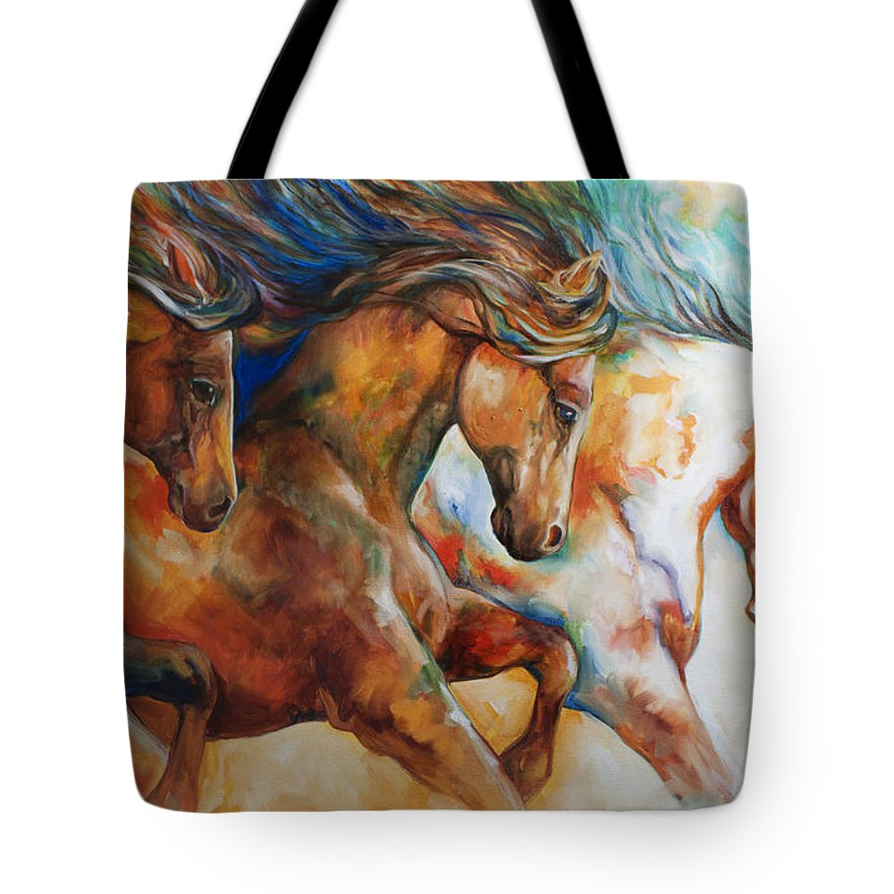 Horse Tote Bag featuring the painting Wild Trio Run by Marcia Baldwin