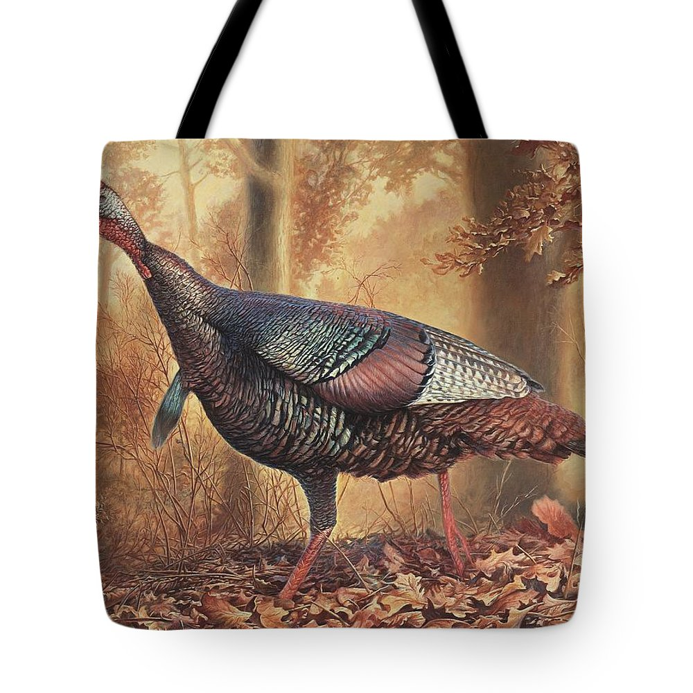 Wild Turkey Tote Bag featuring the painting Wild Turkey by Hans Droog