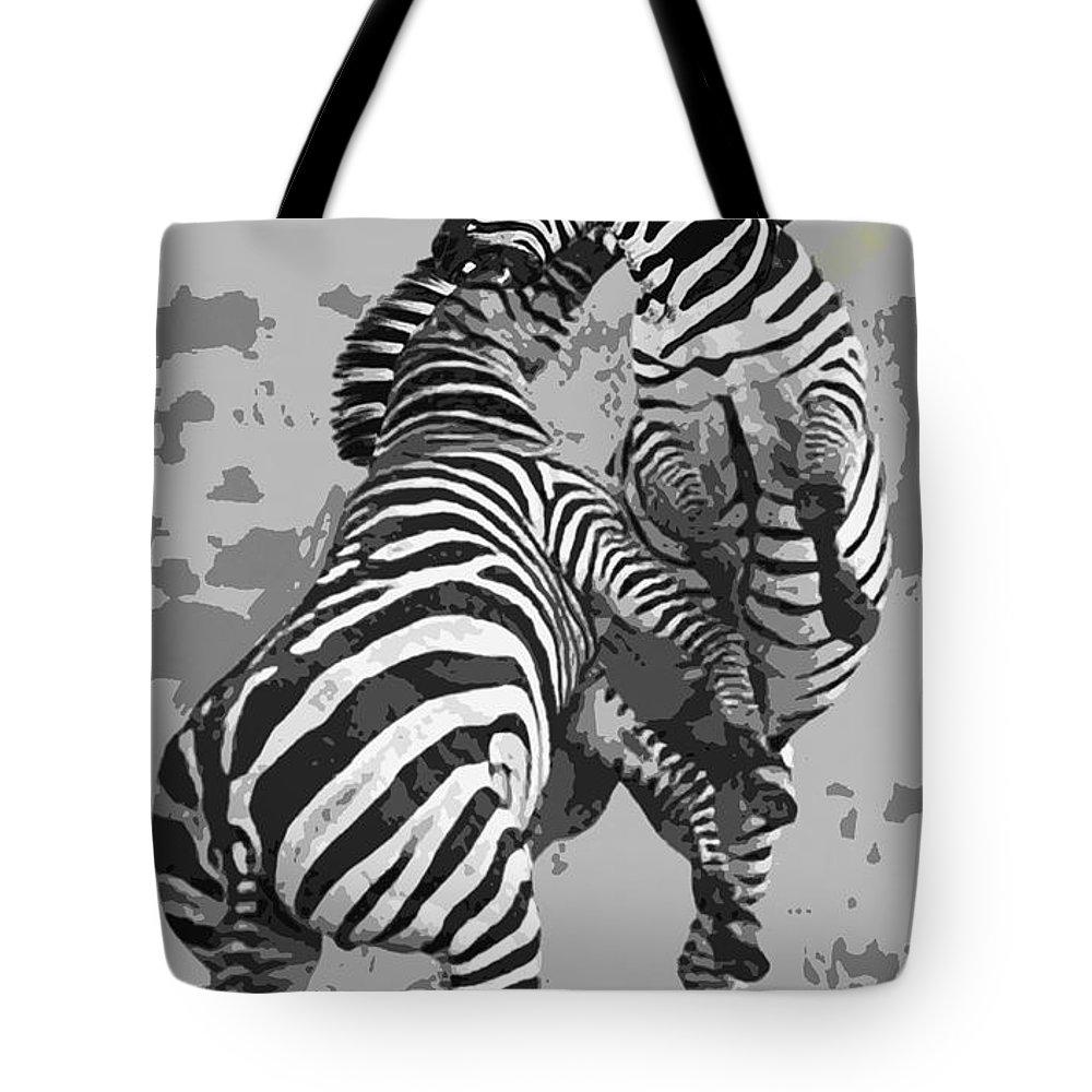Zebras Tote Bag featuring the digital art Wild Zebras by Daniel Hagerman