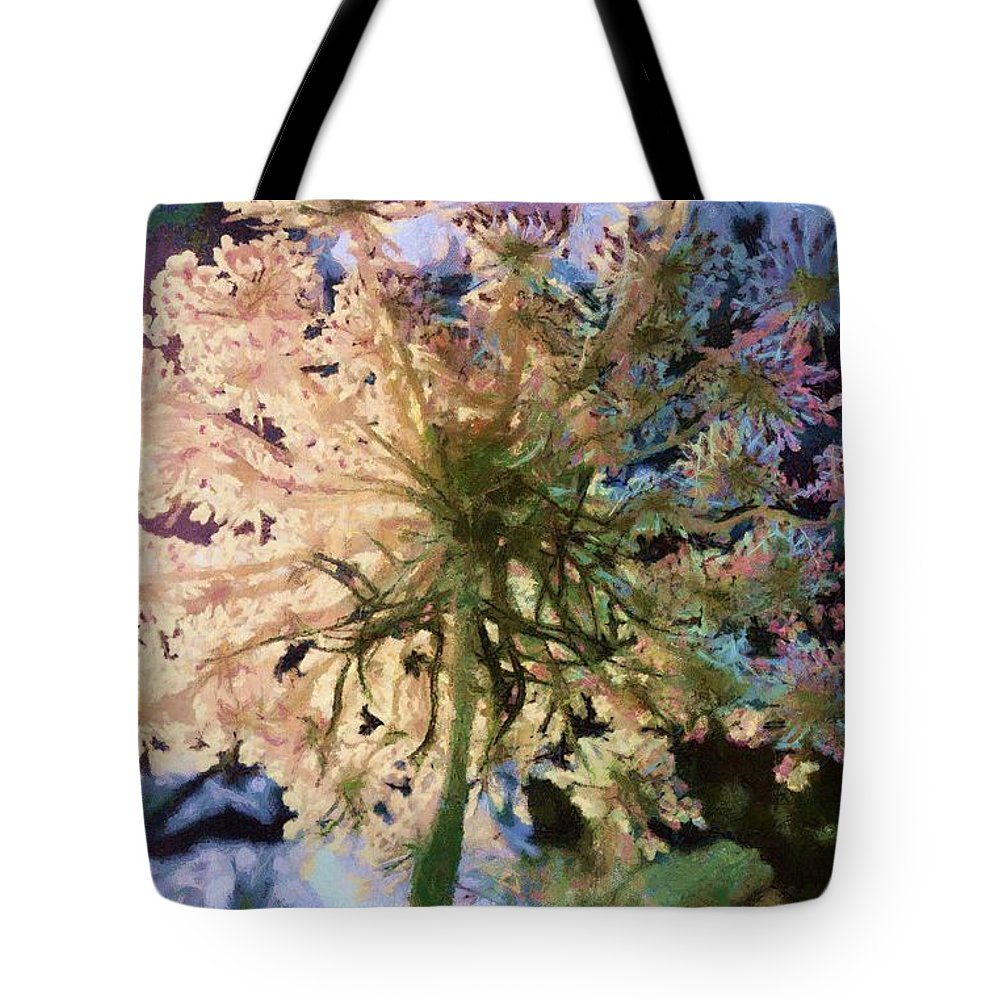 Flower Tote Bag featuring the mixed media Wilderness by SiriSat