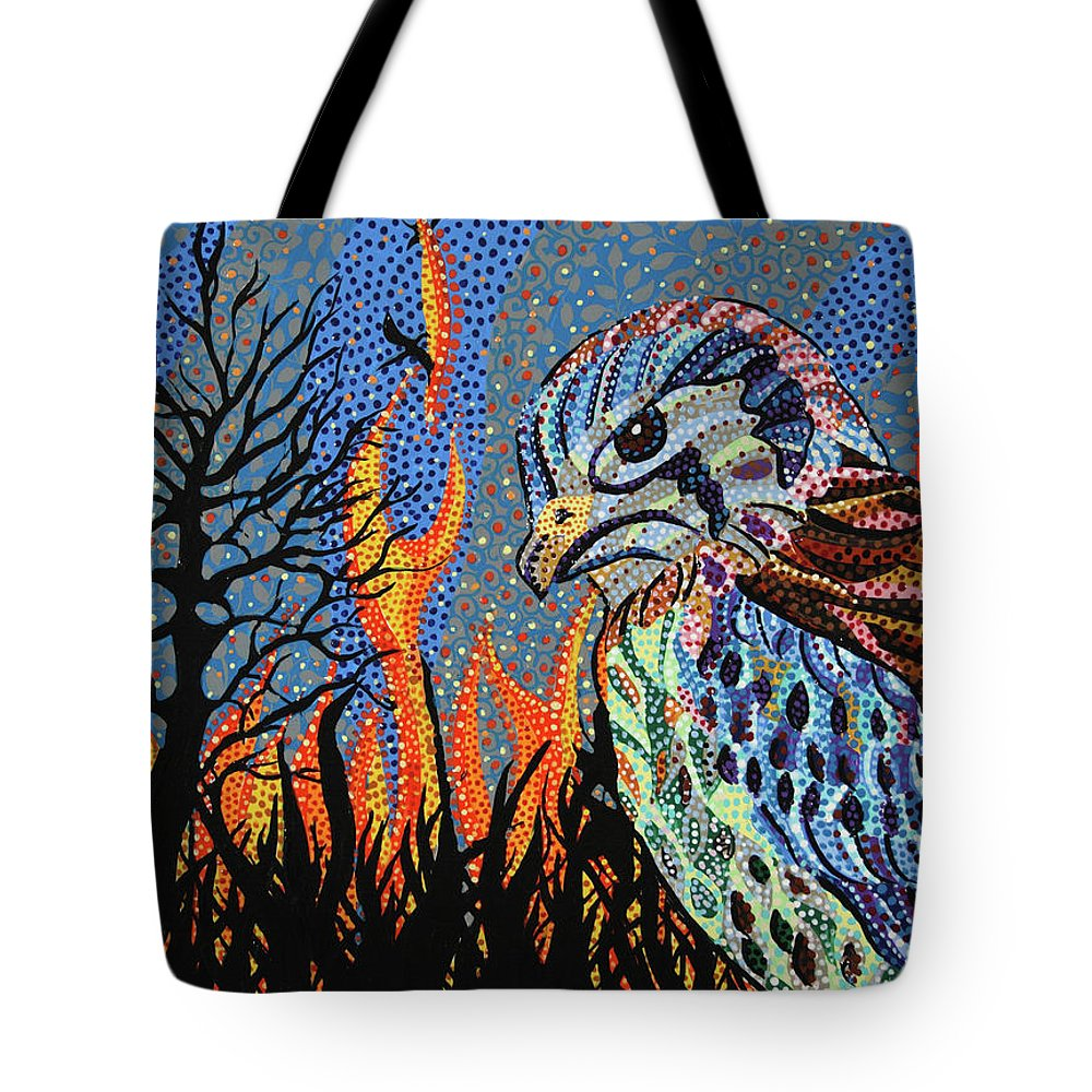 Wildfire Tote Bag featuring the painting Wildflire by Erika Pochybova