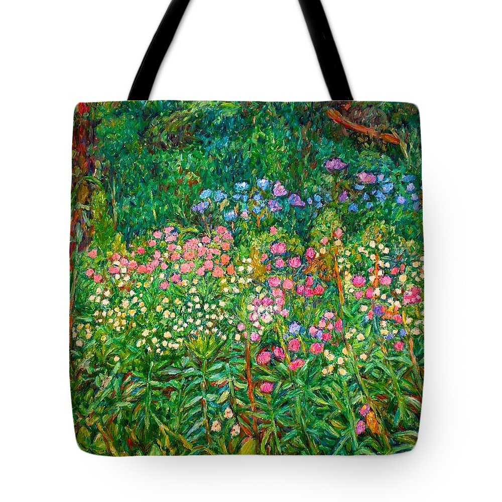 Floral Tote Bag featuring the painting Wildflowers Near Fancy Gap by Kendall Kessler
