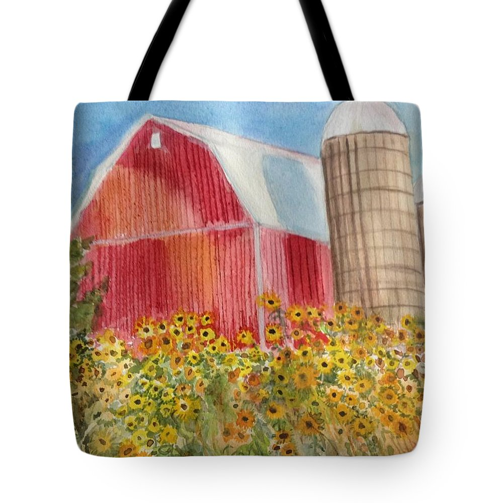 Wildwood Family Farms Tote Bag featuring the painting Wildwood Farm by Kathy Sievering