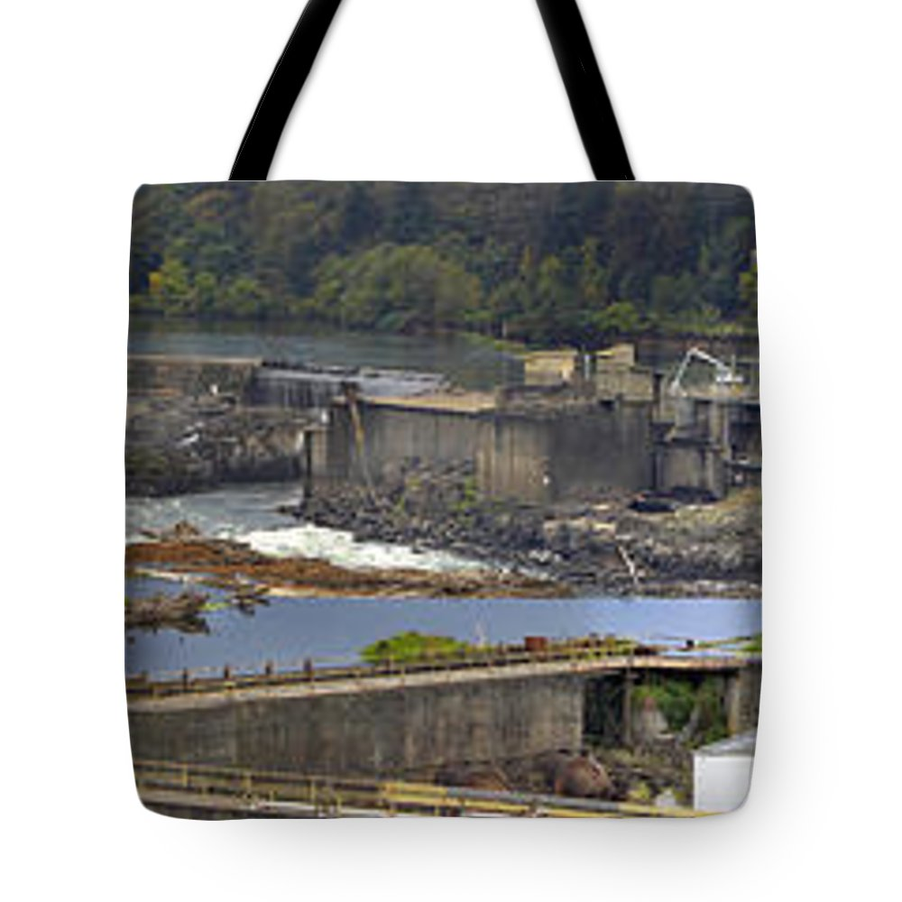 Industrial Tote Bag featuring the photograph Willamette Falls Dam In Oregon City Panorama 3 by David Gn