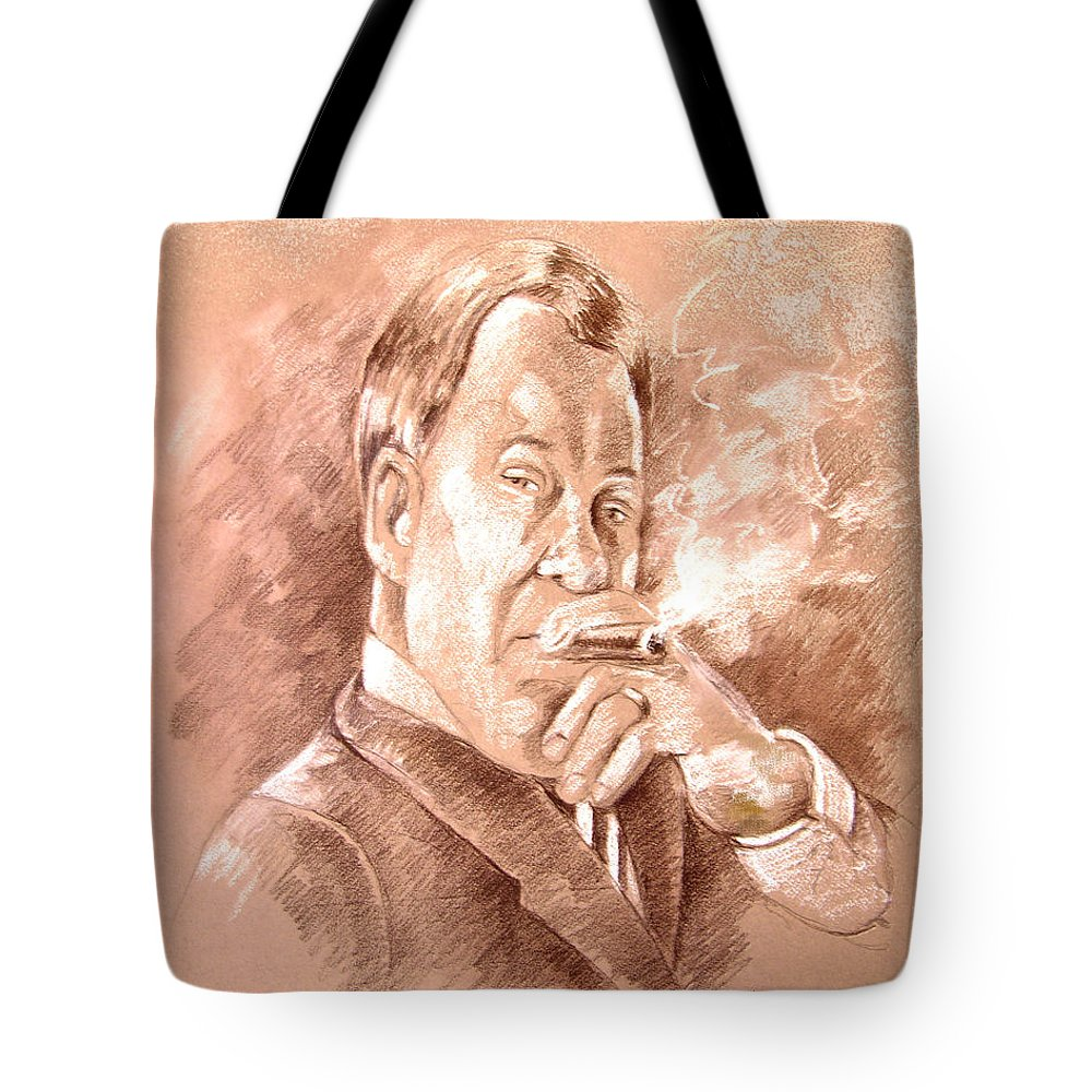 Portrait William Shatner Tote Bag featuring the painting William Shatner As Denny Crane In Boston Legal by Miki De Goodaboom