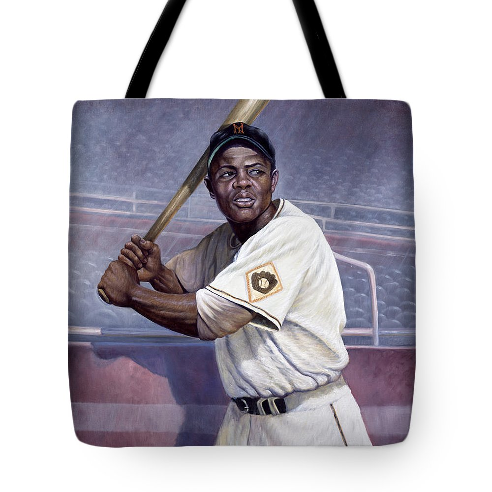 Tote Bag featuring the painting Willie Mays by Gregory Perillo