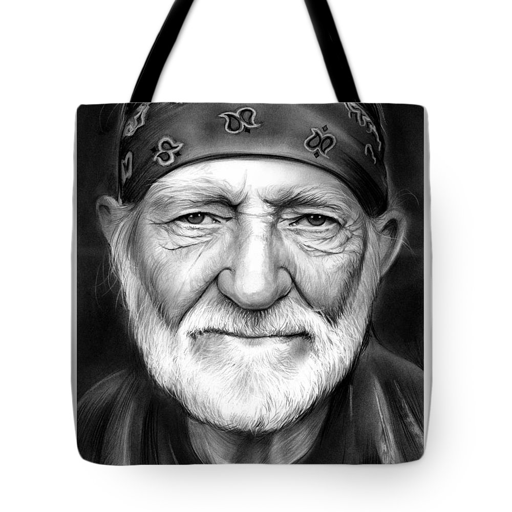 Singer Tote Bag featuring the drawing Willie Nelson by Greg Joens
