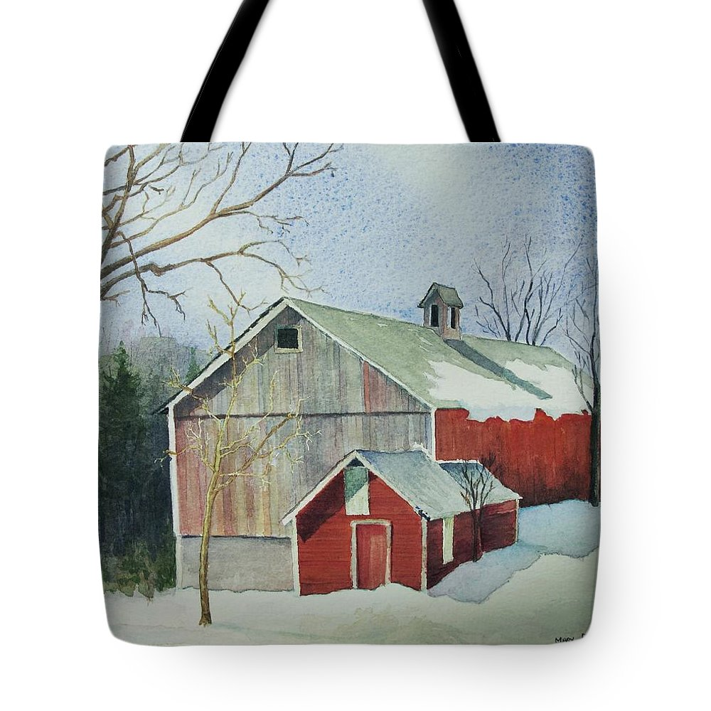 New England Tote Bag featuring the painting Williston Barn by Mary Ellen Mueller Legault