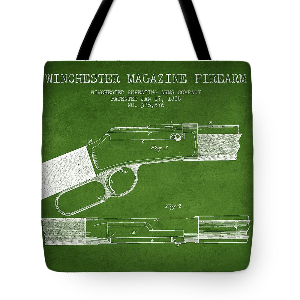 Winchester Tote Bag featuring the digital art Winchester Firearm Patent Drawing From 1888- Green by Aged Pixel