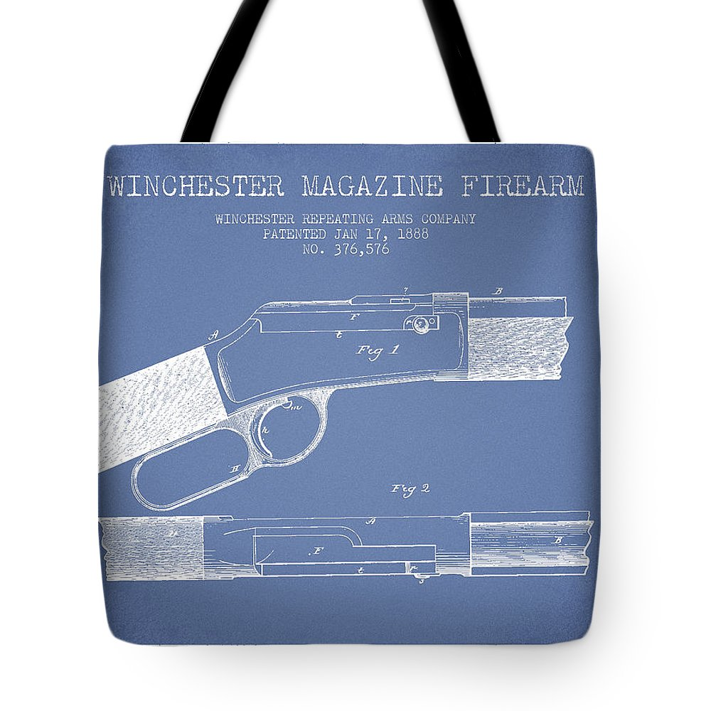 Winchester Tote Bag featuring the digital art Winchester Firearm Patent Drawing From 1888- Light Blue by Aged Pixel