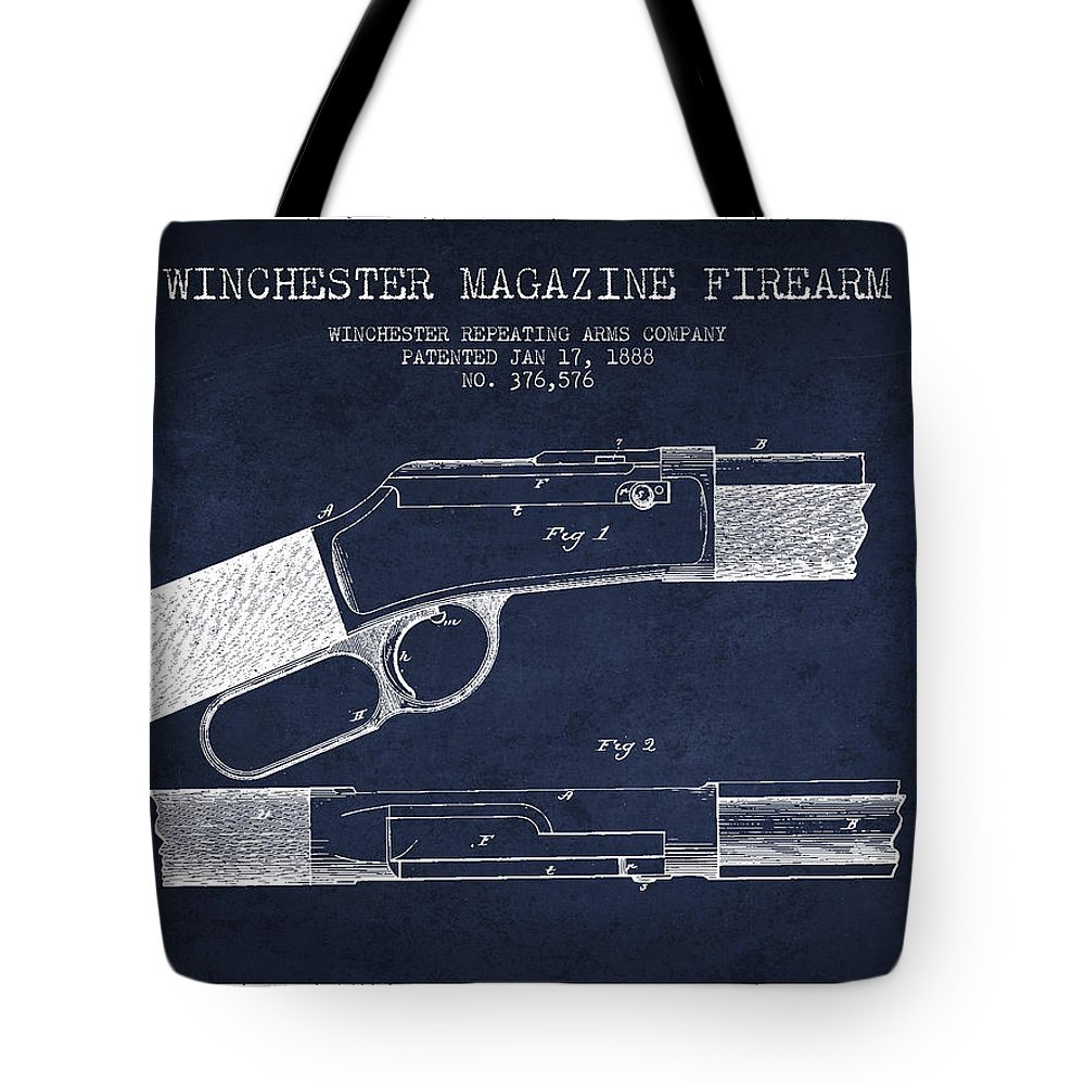 Winchester Tote Bag featuring the digital art Winchester Firearm Patent Drawing From 1888- Navy Blue by Aged Pixel