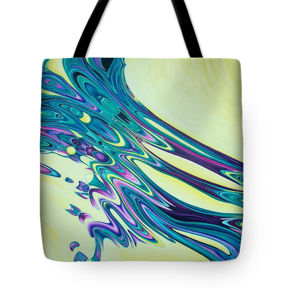 Abstract Tote Bag featuring the painting Wind And Water by Evie Zimmer