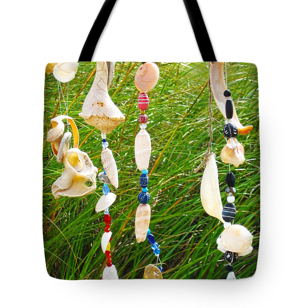 Wind Chimes At The Beach Tote Bag featuring the photograph Wind Chimes At The Beach by Michelle Constantine