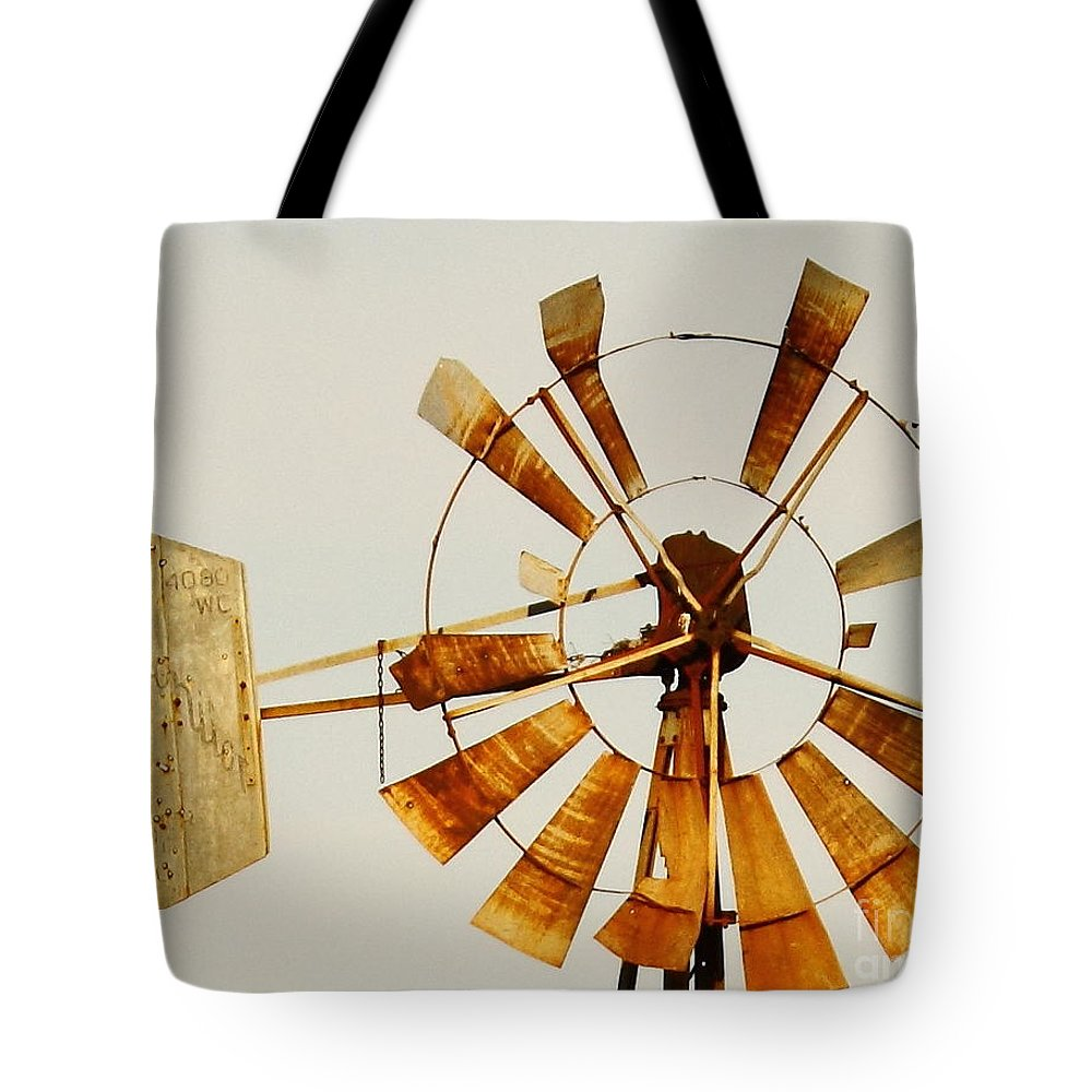 Aermotor Tote Bag featuring the photograph Wind Driven Rust Machine by Robert Frederick