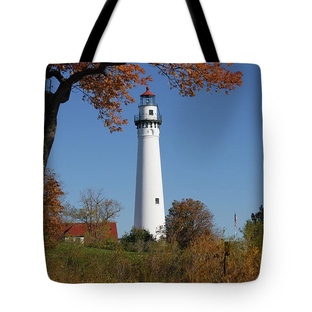 Wind Tote Bag featuring the photograph Wind Point Lighthouse 74 by John Brueske