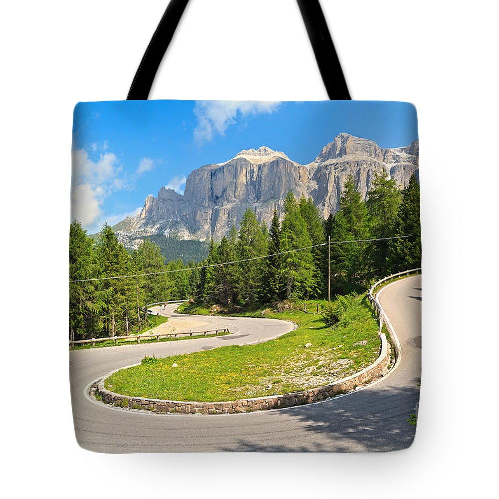 Alps Tote Bag featuring the photograph 	Winding Road To Pordoi Pass by Antonio Scarpi