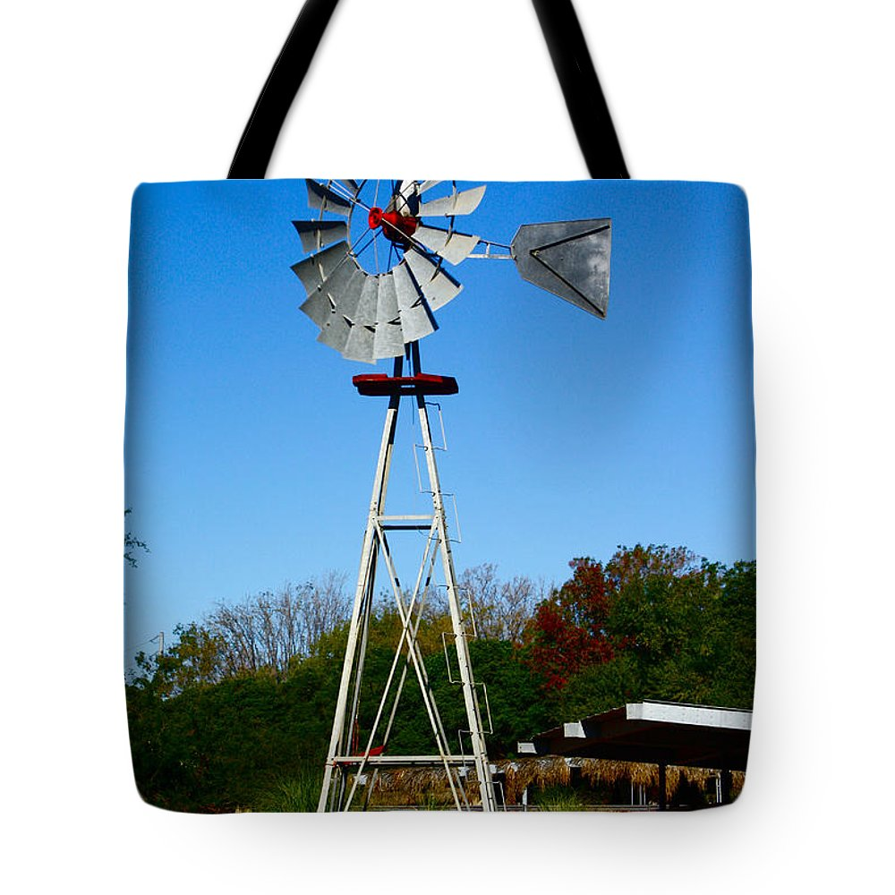 Windmill Tote Bag featuring the photograph Windmill by Carol Tsiatsios