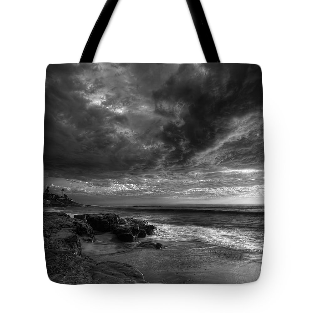 Clouds Tote Bag featuring the photograph Windnsea Stormy Sky Bw by Peter Tellone