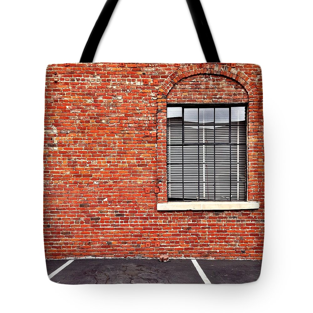Window Tote Bag featuring the photograph Window and Brick by Julie Gebhardt